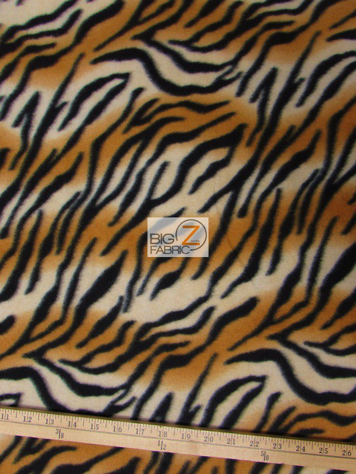 Brown/Black Stripes Zebra Anti-pill Fleece Fabric