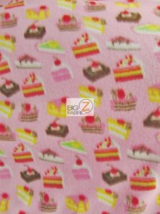 Anti-pill Fleece Fabric Cupcake Pastries Pink