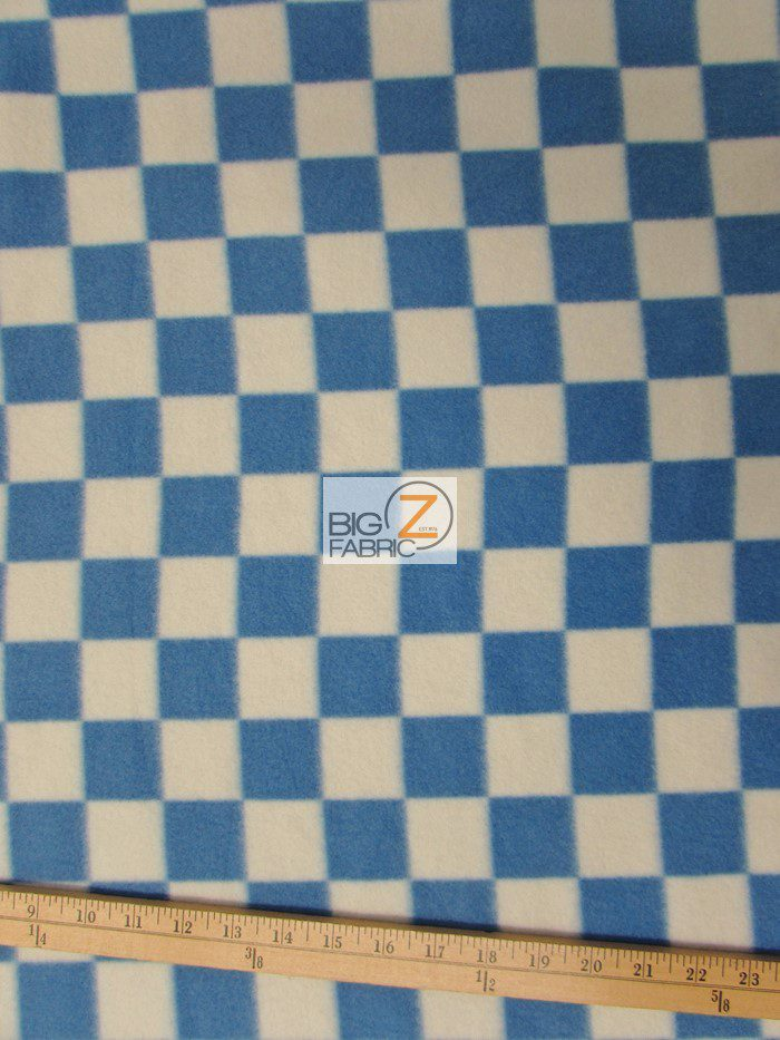 Blue/White Checkered Anti-pill Fleece Fabric