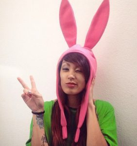 Cosplay Pink Fleece Bunny Hat