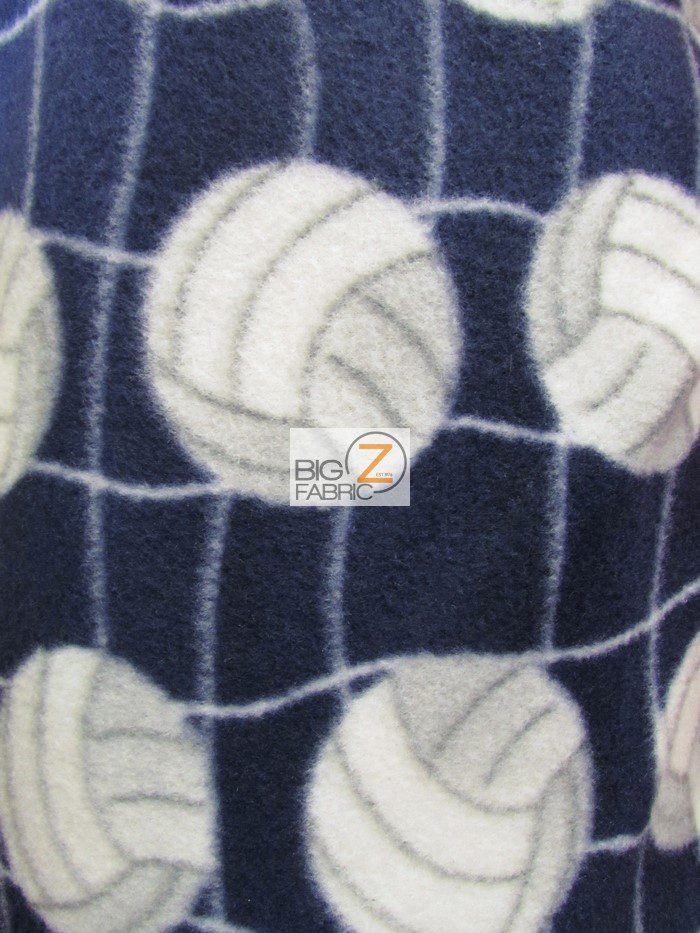 Navy Blue Volleyball Anti-pill Fleece Fabric
