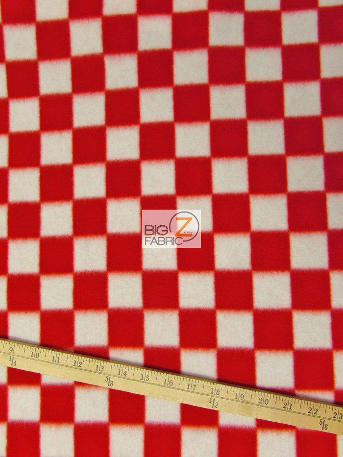 Red/White Checkered Anti-pill Fleece Fabric