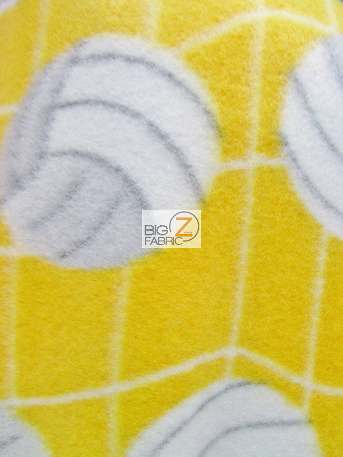 Yellow Volleyball Anti-pill Fleece Fabric