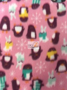 Holiday Penguins & Rabbits Pink Fleece Fabric