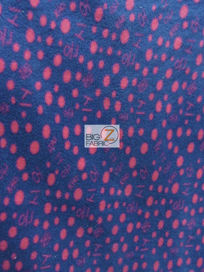 Navy/Fuchsia Polka Dot Anti-pill Fleece Fabric