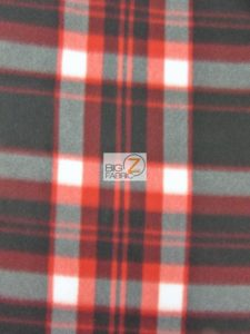 Checker Polar Fleece Fabric Red/Black