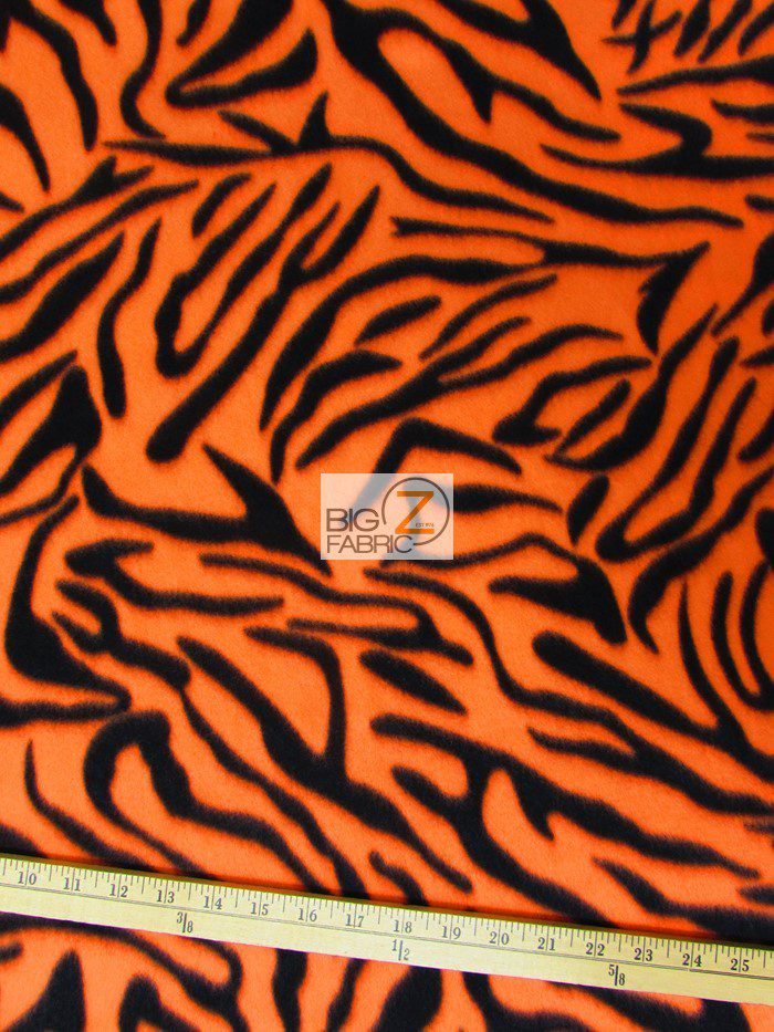 Neon Orange Zebra Anti-pill Fleece Fabric