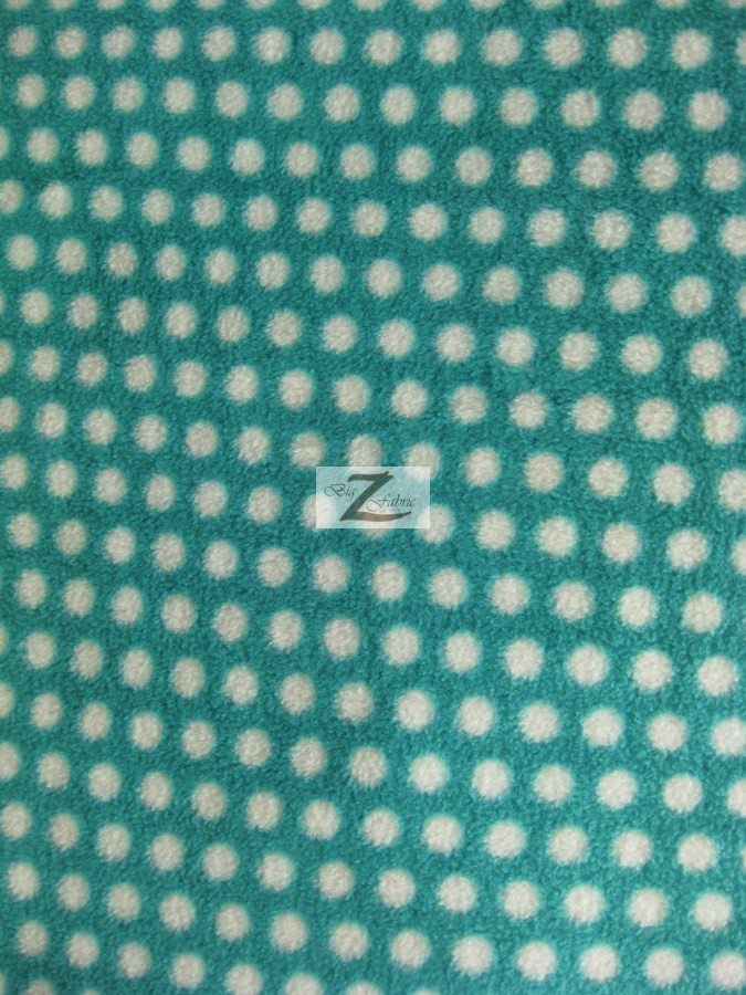 Aqua/White Polka Dot Anti-pill Fleece Fabric