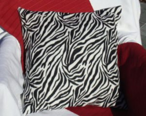 Zebra Print Fleece Coach Pillow