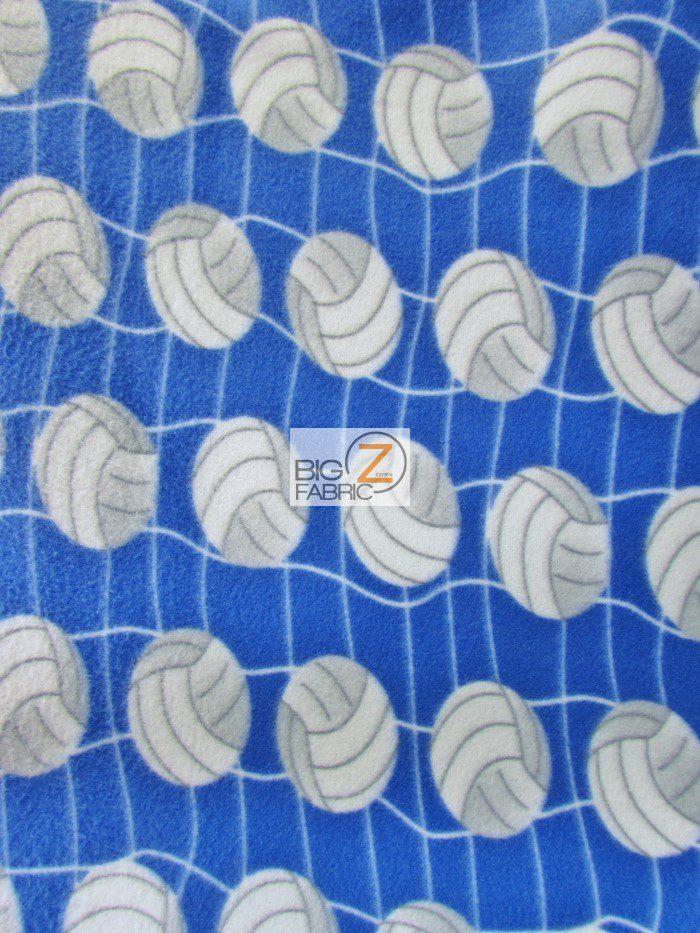 Blue Volleyball Anti-pill Fleece Fabric