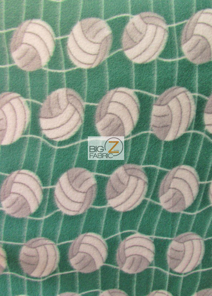 Green Volleyball Anti-pill Fleece Fabric