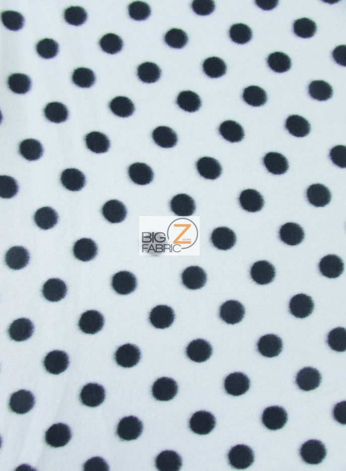 polka dot black and white fleece fabric