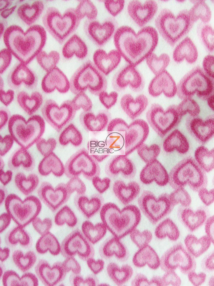 fleece printed fabric hearts