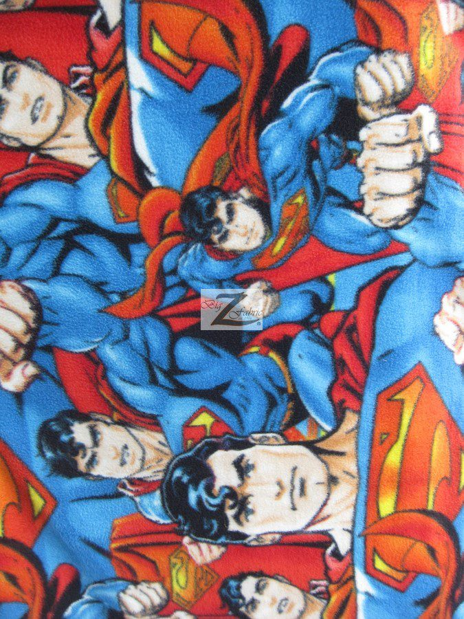 anti pill, fleece fabric, anti pill fleece, superman printed fabric