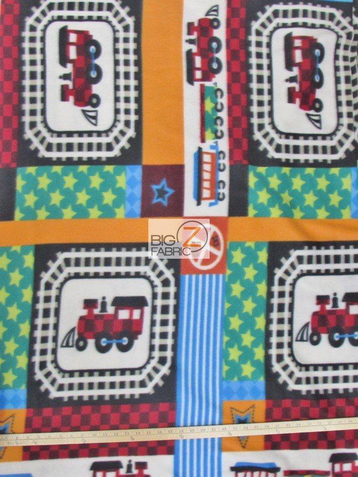 fleece train printed fabric
